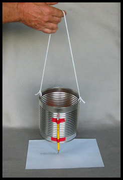 Kids Science Activities, Tin Can Seismograph Photo Myrna Martin