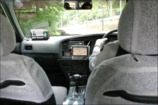 GPS receiver in a taxi cab